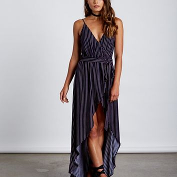 croatia faux wrap dress - navy stripe
