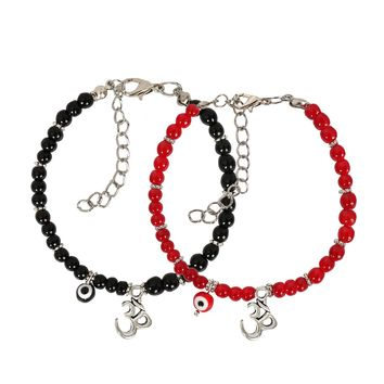 Evil Eye Protection Love Couples Amulets Set Royal Red Black Accents OM Tibetan Spiritual Bracelets