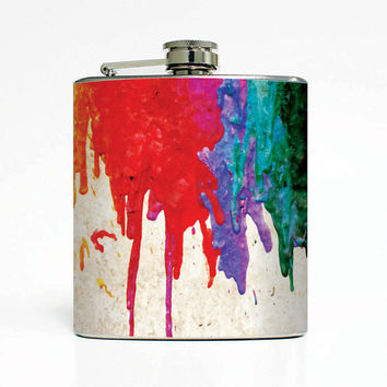 Melted Crayons Designer 6 Oz Liquor Stainless Steel Hip Flask Weddings Groomsmen Bridesmaids Gift Whiskey Flask