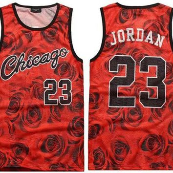ICIKFQ5 2017 men's summer tank tops 3D print rose floral 23 vest fit slim jersey sleeveless tee shirts boys clothes