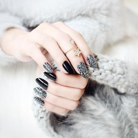 24PCS Chic Embellished Color False Nails Block Pattern Art Fake Nails Black Full Artificial Nails Tips with Glue Sticker
