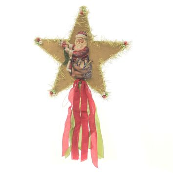 Tree Topper Finial VINTAGE STAR TREE TOPPER Paper Paper Santa Ribbon Tl7788
