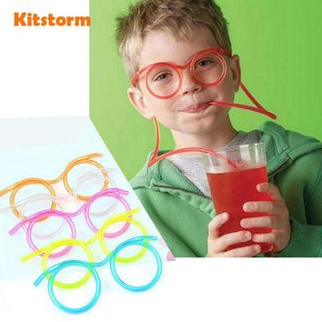 VONC1Y Hot! Funny  Soft Plastic Straw Glasses Unique Flexible Drinking Tube Kids Party Bar Accessories