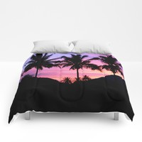 Sunset Palm Trees Comforters by WhimsyRomance&Fun