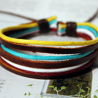 Spring Gift Fashion Multicolor Adjustable real Leather and Cotton rope Wrap Bracelet cuff M-12