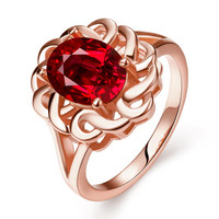Rose Gold Plated Chain Lock Ruby Red Ring