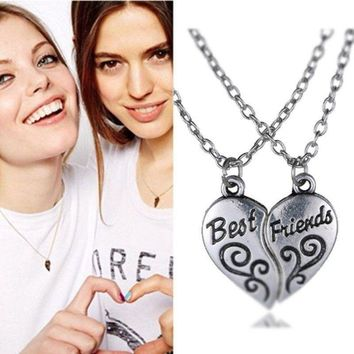 "2PCS Friendship Heart Letter ""BEST FRIEND"" Silver Pendant Necklace Girls Chains + Gift Box"
