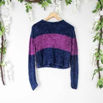 Vintage Purple Fuzzy Cropped Sweater
