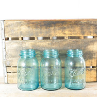 Set of Three Vintage Ball Perfect Mason Jars // Aqua Glass