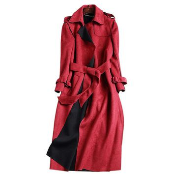 New Suede Trench Coat Women Abrigo Mujer Long Elegant Outwear Female Overcoat Slim Red Suede Cardigan Trench C3487