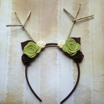 Reindeer Headband - Antler Headband - Deer Headband - Woodland Headband - Antler Headband - Reindeer Crown - Antlers - Green, Brown, Cream