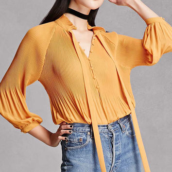Tie-Neck Pleated Bodysuit
