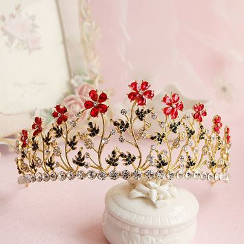 Golden Princess Bridal Crown Tiara Red Flowers Retro Baroque Cosplay Costume