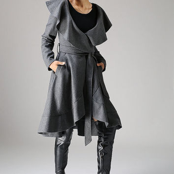 Dark gray wool coat women jacket winter jacket (1075)