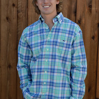 Vineyard Vines Hammersmith Performance Flannel Slim Murray Shirt- Starboard Green