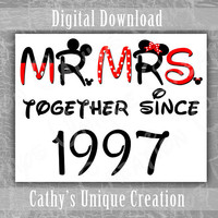 Mr and Mrs Together Since 1997 Couples Shirts, Walt Disney World, 20th Year Wedding Anniversary, Minnie Mouse Ears, Mickey Theme Printable