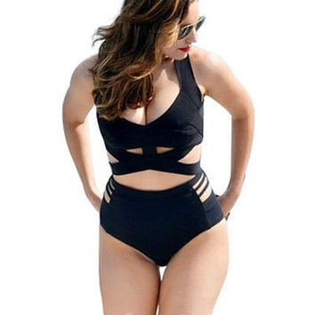 Fashion 2016 Trending Fashion Extra Plus Size Black Women Two-Piece Sexy Erotic  Sexy Swim Suit Beach Bathing Suits _ 694
