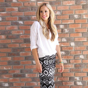 Women's Pencil Skirt, Charcoal Gray Aztec print