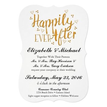Happily Ever After Gold Wedding Invitation