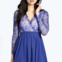 Boutique Jocelyn Wrap Front Eyelash Lace Skater Dress