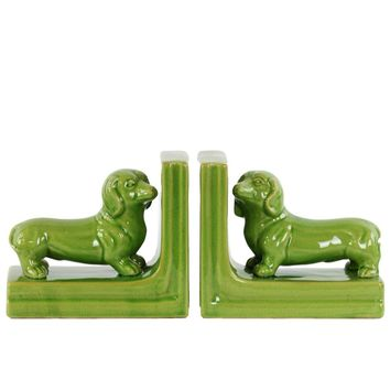 Standing Dachshund Figurine Bookend Assortment of 2- Green - Benzara