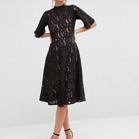 ASOS Kimono Sleeve Midi Skater Dress in Lace at asos.com