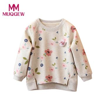 Fashion New Toddler Kids Baby Girls Floral Printing Long Sleeve T-Shirt Warm Tops Autumn T-Shirts Clothes