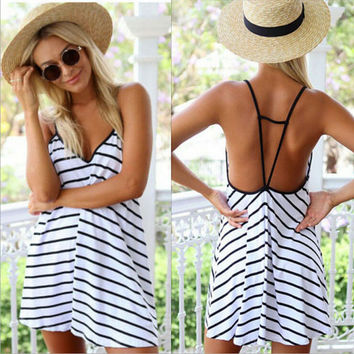 Stripe Spaghetti Strap Mini Dress