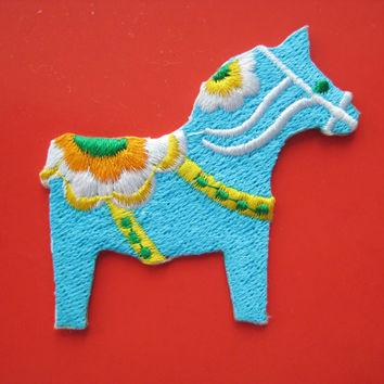 Iron-on Embroidered Patch Horse (blue) 2.4 inch