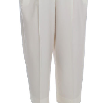 Dolce & Gabbana White Dress Wool Capri High Waist Pants