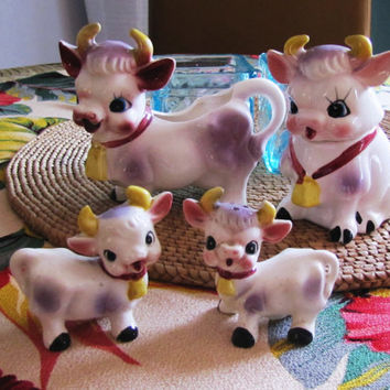 Bovine Family Cow Creamer and Bull Sugar Bowl, with little salt and pepper cows. cow kitchen decor