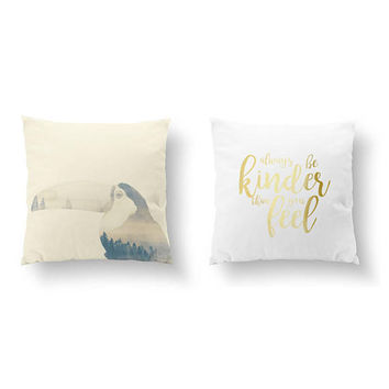 SET of 2 Pillows, Double Exposure, Always Be Kinder Than You Feel, Toucan Pillow, Bed Pillow, Throw Pillow, Cushion Cover, Gold Pillow
