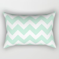 Chevron Mint Green & White Rectangular Pillow by Beautiful Homes | Society6
