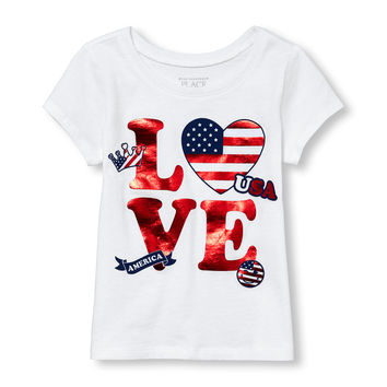 Toddler Girls Short Sleeve Foil 'Love America' Graphic Tee   The Children's Place