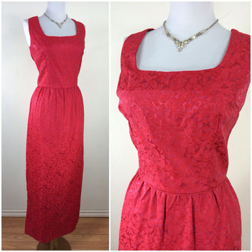 Vintage 1960s dress / 60s dress / red brocade hourglass glamour