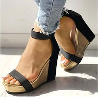 Wedge Strappy Ankle Sandals