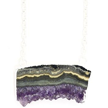 Druzy Agate Slice Necklace Purple Layered Geode Crystal Block Pendant NT34 Silver Tone Fashion Jewelry