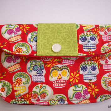 Bright Red Sugar Skulls Clutch Charmante Medium