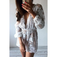 4 Colors Long Sleeve Party Deep V Romper