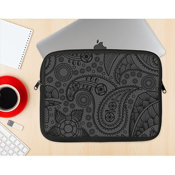 The Dark Gray & Black Paisley Ink-Fuzed NeoPrene MacBook Laptop Sleeve