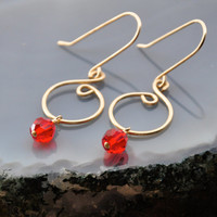 Red Crystal Earrings, 14K Gold Fill Wire Jewelry, Beaded Dangle Earring