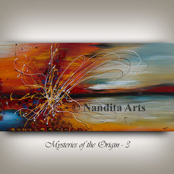 Original Acrylic Abstract painting 48 Inch, String Art, Large Modern Art, Oil Painting on Canvas, Wall Art and Home Decor By Nandita