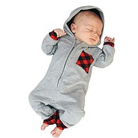Newborn Infant Baby Boy Girl Plaid Hooded Romper Onesuit