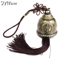Vintage Buddha Statue Pattern Feng Shui Wind Chime With Tassels for Good Luck Fortune Home Car Hanging Decor Crafts 350x46.5mm