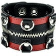 Red Trim D Rings with Zipper Wristband Leather Bracelet