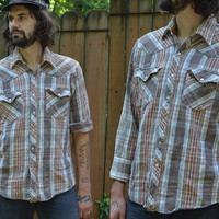 Vintage 70's Pearl Snap Western Autumn Cotton Plaid Flannel Shirt