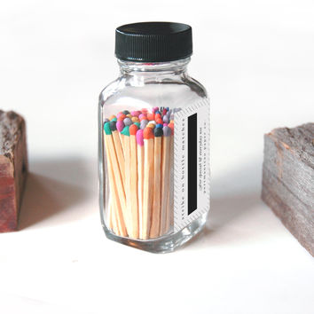 Rainbow Square Bottle Matches - Fancy Party Matches - Strike on Bottle - Multicolor Matchsticks - Pair with a Candle - Colorful Match Jar