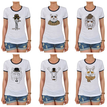 Women Animal Retro Style Graphic Printed Short Sleeves T-shirt WTS_06