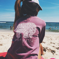 Ivory Ella printing T-shirt Women Tops Tee Print Animal Elephant T Shirt