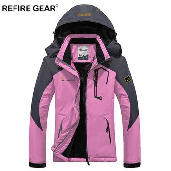 ReFire Gear Winter Outdoor Hiking Jacket Women Warm Waterproof Windproof Trekking Camping Jacket Fleece Liner Hooded Skiing Coat